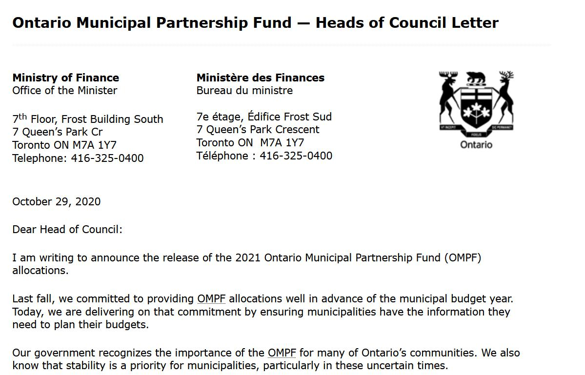 Image of OMPF Letter