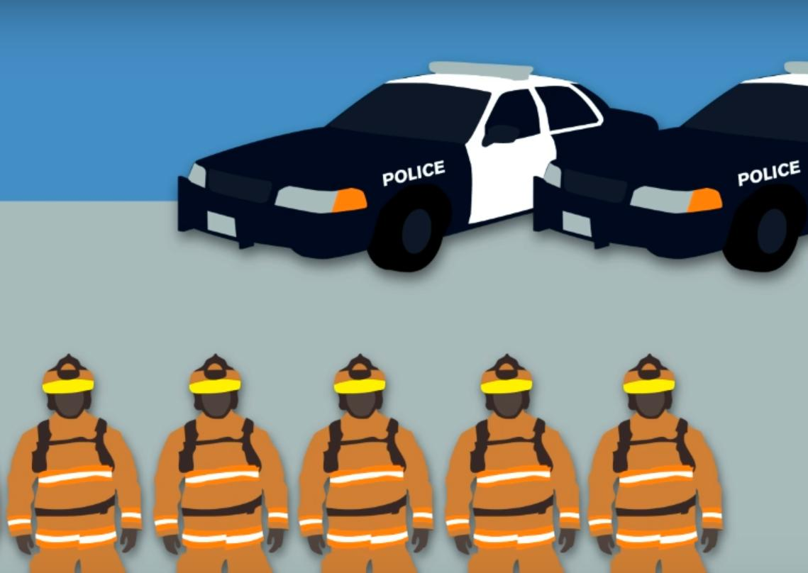 Image of police cars and firefighters